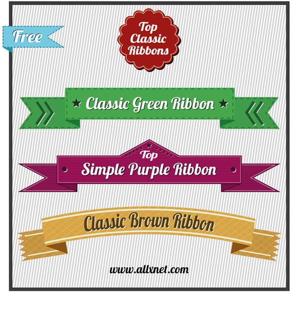 Download: Free Vector Ribbons Set