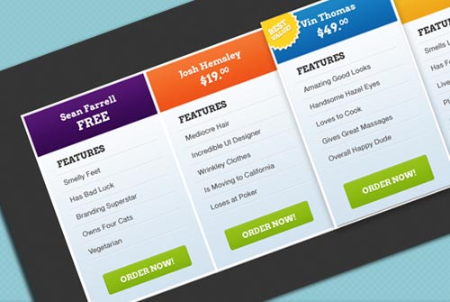 13 Free Professional Pricing Tables | Allxnet